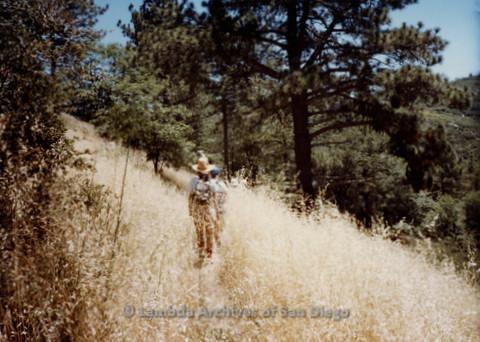 P008.046m.r.t Mt. Laguna 1983: Mary Revere walking the trail