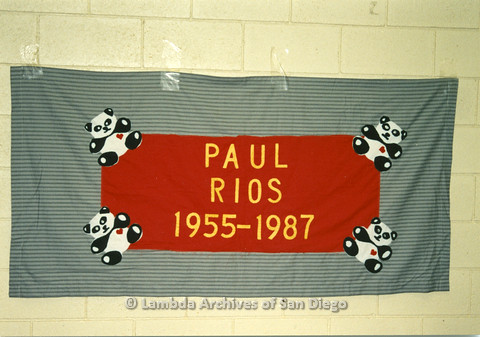 AIDS Quilt at San Diego Golden Hall 1988:  quilt dedicated to Paul Rios