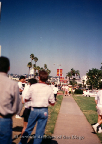 P197.022m.r.t AIDS Walk San Diego 1991: People standing on grass looking at people walking on path