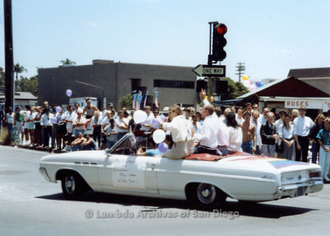 P018.032m.r.t San Diego Pride Parade 1988: Man and Woman of the Year car