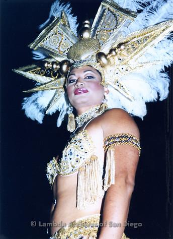 P184.041m.r.t Nightmare On Normal Street: Man dressed as a Las Vegas showgirl.