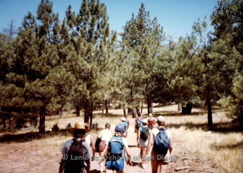 P008.045m.r.t Mt. Laguna 1983: Hikers heading out on the trail, including Aida, Margaret Lewis, Diane F. Germain, Mary Revere, Diane Hammer, Laurie, Sharon, Ann, and Marcie
