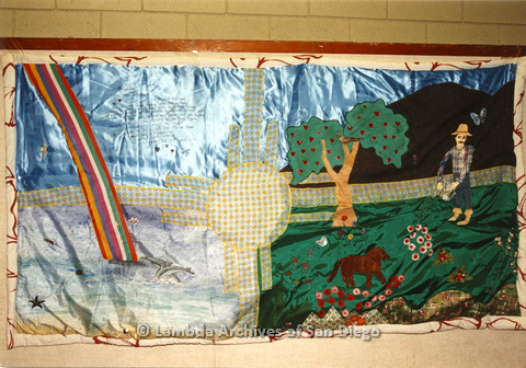 """P019.066m.r.t AIDS Quilt at San Diego Golden Hall 1988: Elaborate farming themed collage quilt with James Taylor's """"You've Got a Friend"""" lyrics"""