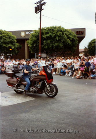 P018.078m.r.t San Diego Pride Parade 1991: Man riding a motorcycle
