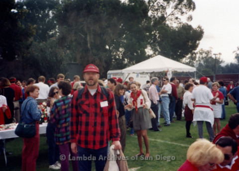 P338.075m.r.t Charles McKain in a crowd at a Stanford reunion