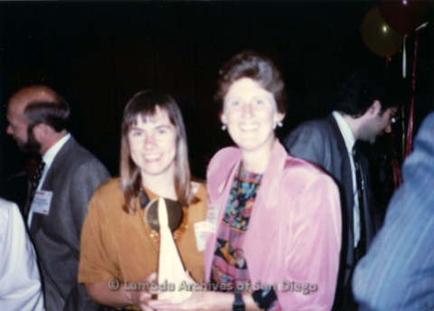 P168.006m.r.t National Association of Independent Record Distribution event: Karen Merry holding award with other woman