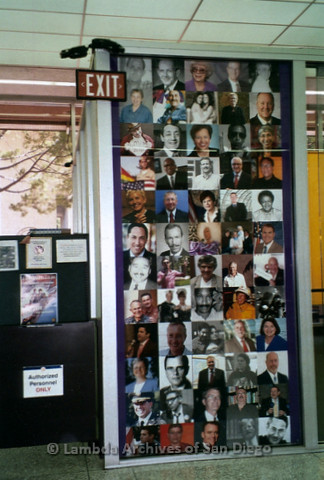 P119.051m.r.t LASD City Hall Exhibit 2010: A wall of photos of local LGBT figures