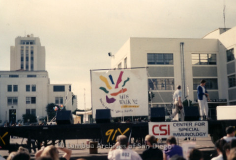"P197.026m.r.t AIDS Walk San Diego 1992: Stage with banner that reads: ""AIDS Walk '92"""