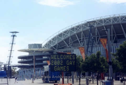 P338.002m.r.t Sydney, Australia trip: Event sign for 2002 Gay Games in front of Aussie Stadium