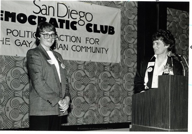Chris Kehoe and Jeri Dilno(right) at San Diego Democratic Club event, 1985