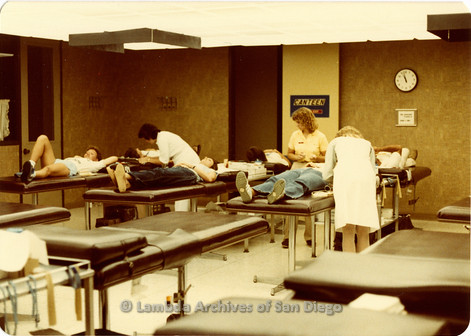Blood Sisters blood drive, 1983-  having their blood drawn