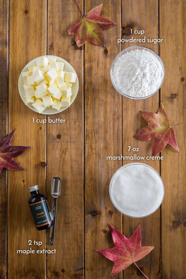 ingredients for the maple marshmallow cream