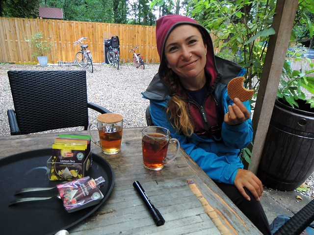 Hot tea and stroopwaffels.  As soon as we took down the tent, it started to pour, and we took shelter in the employee break area of a nearby restaurant.  A kind employee brought us hot tea. by bryandkeith on flickr
