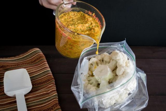 beginning to marinate the cauliflower