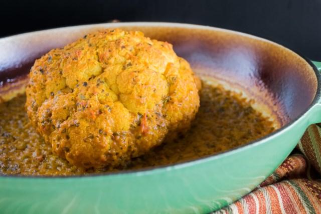 tandoori cauliflower, roasted whole