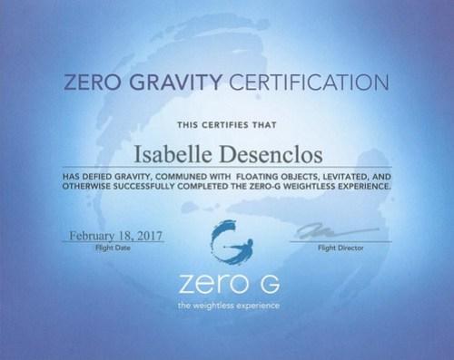 certificat zero G