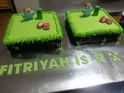 2 x 1kg chocolate cake with mine craft theme