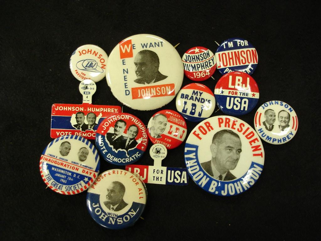 Campaign Buttons For The Lyndon B Johnson Democratic Par