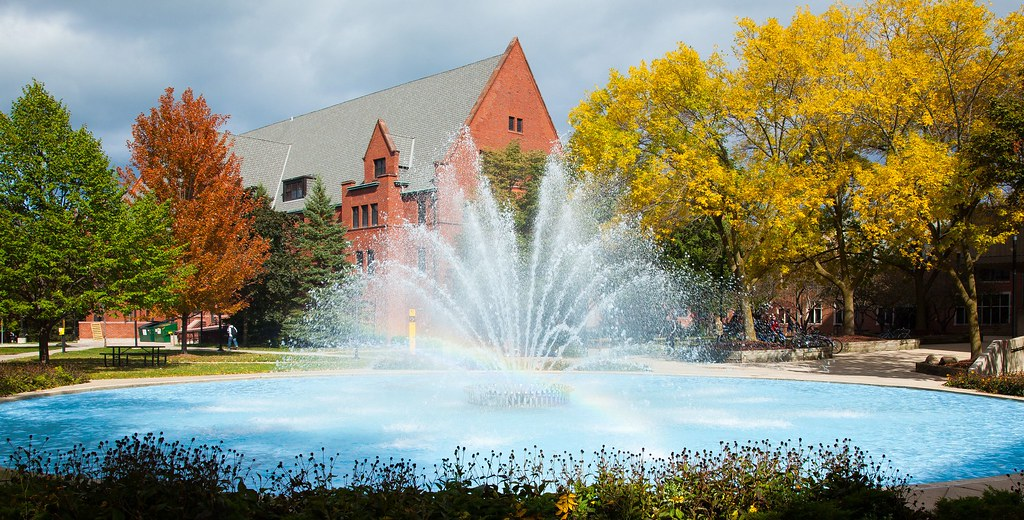 Fall Scenes At Uw Milwaukee The Curtin Fountain With A