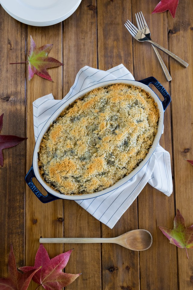 wild rice gratin with kale, caramelized onions, and emmentaler