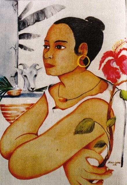 Woman With Hibiscus