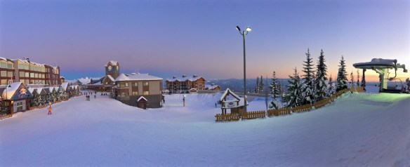 Big White village and ski resort covered in snow, Canada