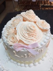 white wedding rose cake - topview