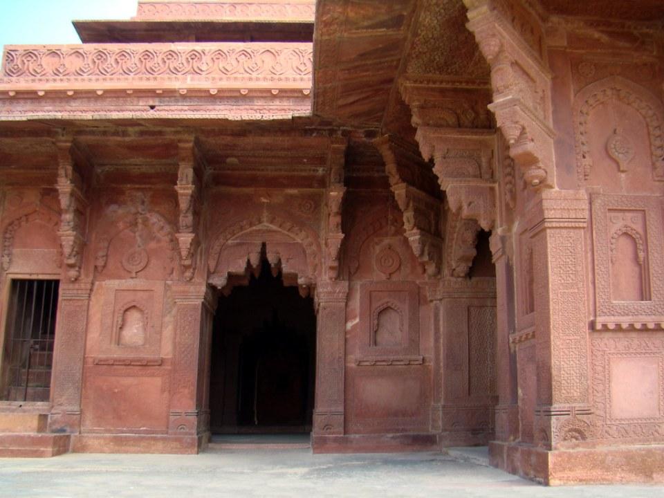 edificio casa de Birbal ministro de Akbar decoraciones Fatehpur Sikri India 40