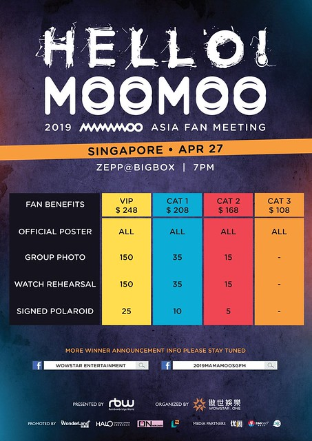2019 MAMAMOO [HELLO! MOOMOO] Asia Fan Meeting in Singapore Fan Benefits