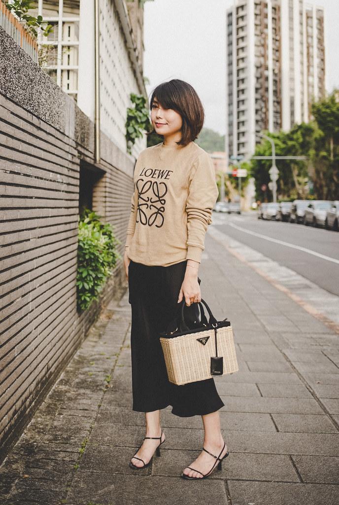 ▌Outfit ▌ 穿搭小短文:Loewe Sweatshirt + Prada Straw Bag + The Row Bare Sandals