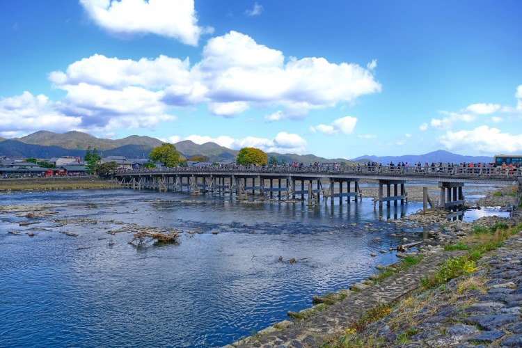 Togetsukyo Bridge, Arishiyama, Western Kyoto, Japan, on a normal day