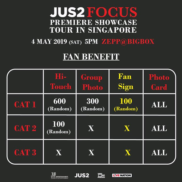 JUS2 FOCUS TOUR IN SG FAN BENEFITS