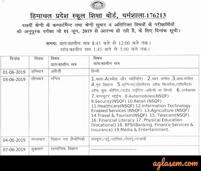 HPBOSE 10th Compartment Time Table 2019