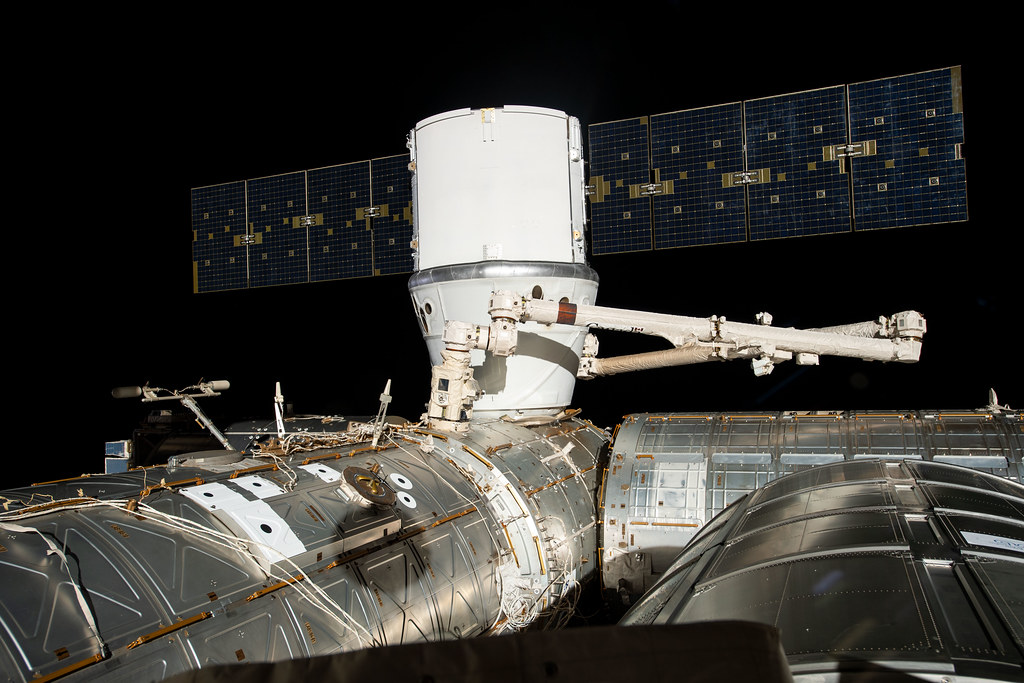 The SpaceX Dragon is installed to the Harmony module