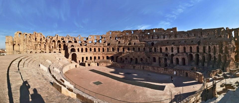 Arena y gradas interior anfiteatro de El Djem Coliseo Romano de Thysdrus Tunez 06