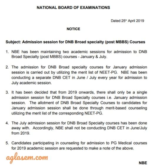 DNB CET 2019 Notice