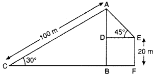 RBSE Solutions for Class 10 Maths Chapter 8 Height and Distance 3Q.16