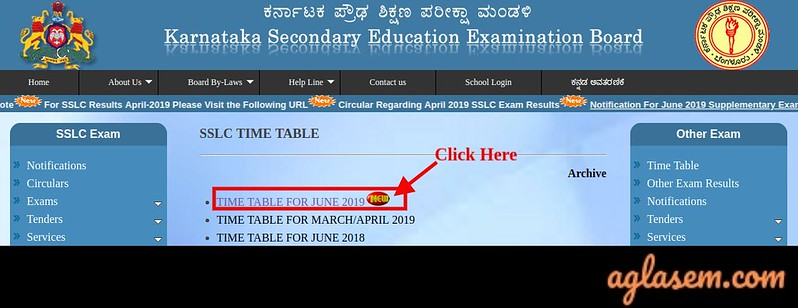 Karnataka SSLC Supplementary Time Table 2019
