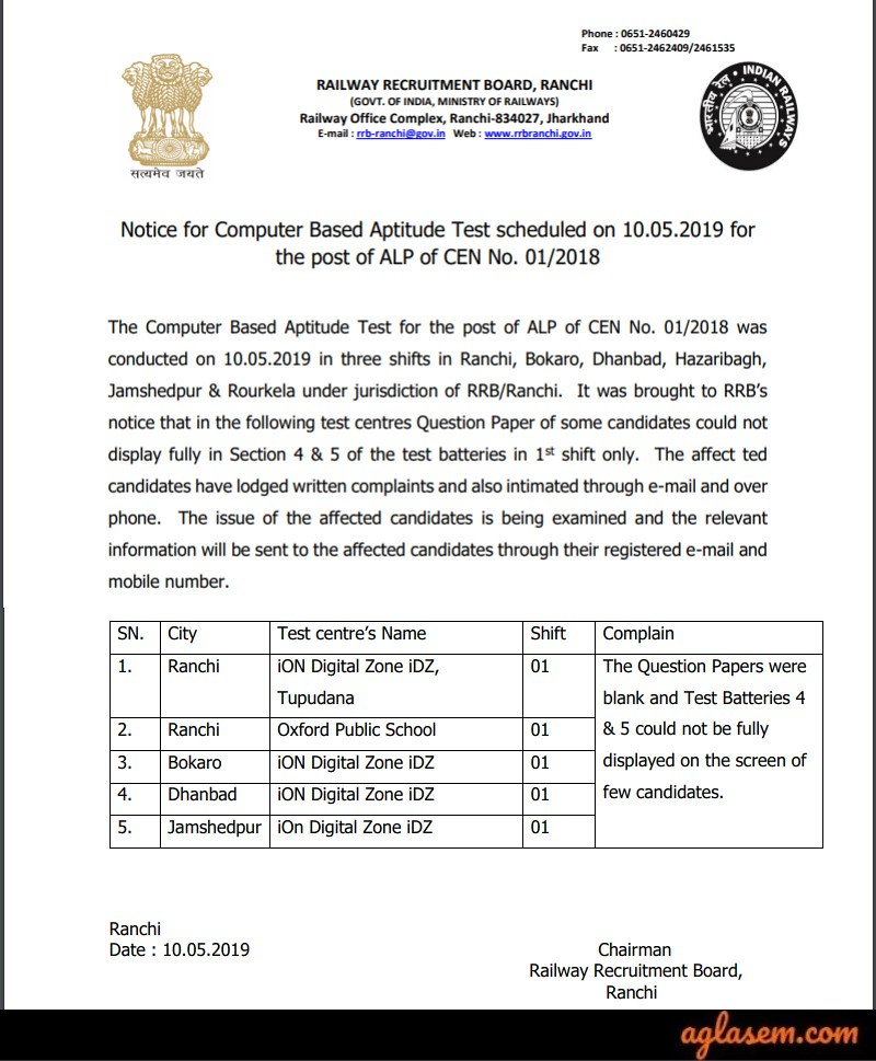 RRB ALP CBT 3 Notice on Viewing Paper