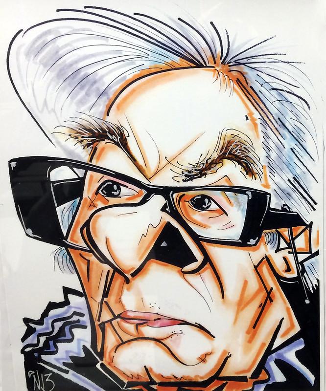 José Dámaso Trujillo Caricatura Néstor Dámaso Alonso del Pino en el Ambito Cultural El Corte Ingles Las Palmas de Gran Canaria agosto 2017