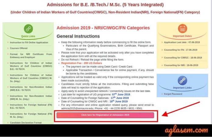 Anna University NRI/CIWGC/FN Category Admission 2019
