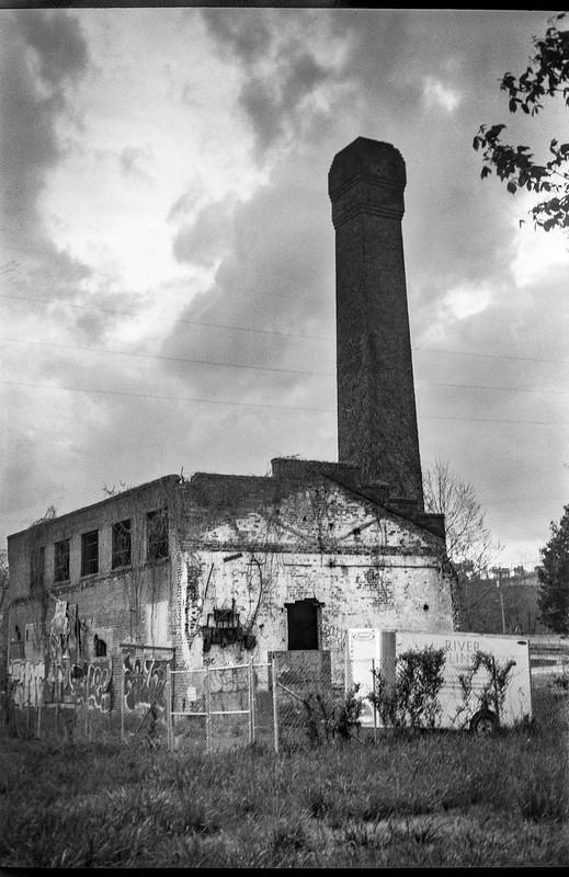 abandoned industrial building, urban decay, Asheville, NC, Goerz Box Tengor, Bergger Pancro 400, HC-110 developer, 4.18.19
