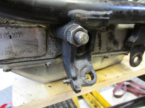 Front Engine Mount Stud with Side Stand Bracket Beside It