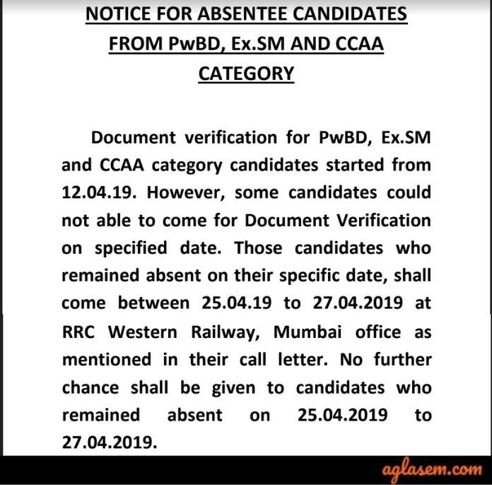 RRC DV Notice for RRB Group D Document Verification