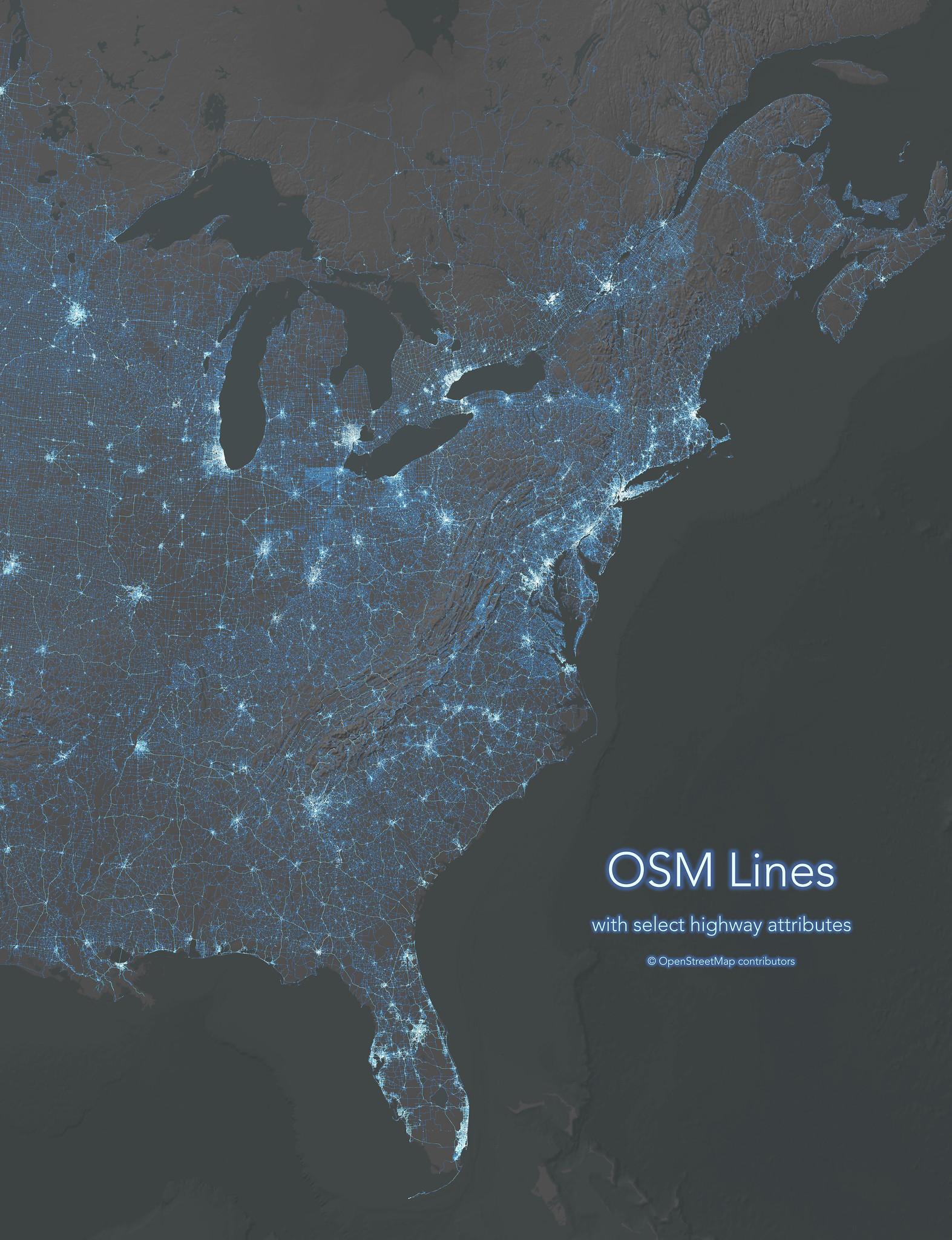 OpenStreetMap highway lines