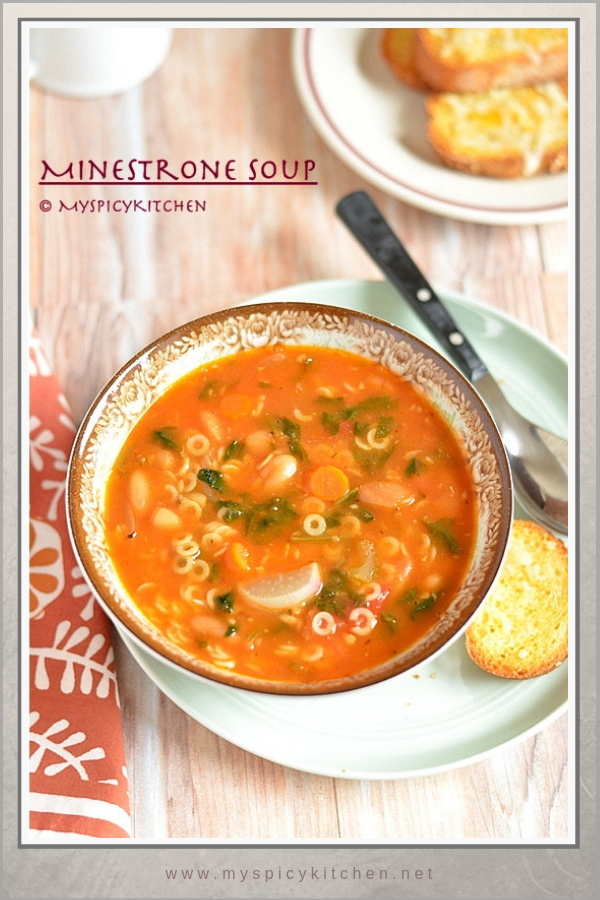 Minestrone soup with lots of vegetables and pasta