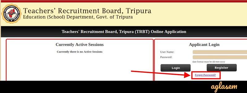 TRB Tripura STPGT 2019 - Login Page