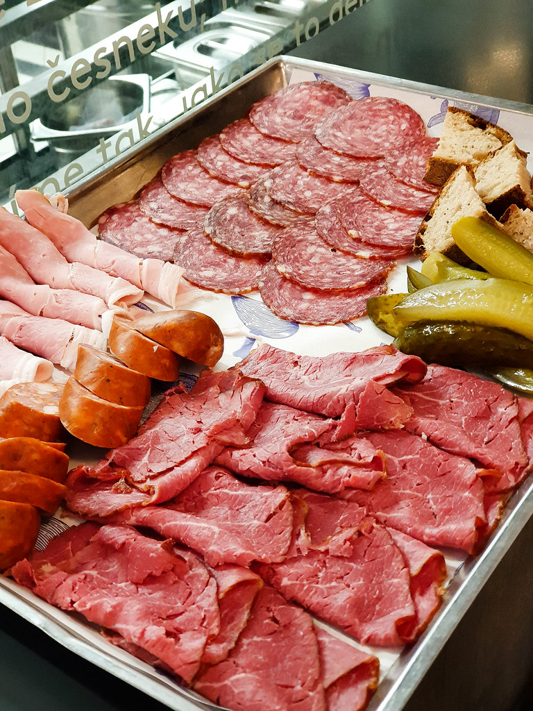 A platter with different salami, sausages and hams from Prague