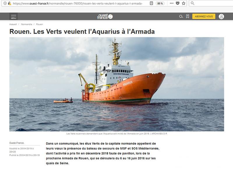 Les Verts veulent l'Aquarius à l'Armada