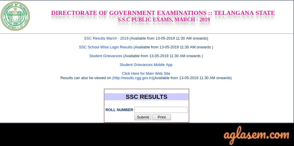 TS SSC Roll Number Wise Result 2019